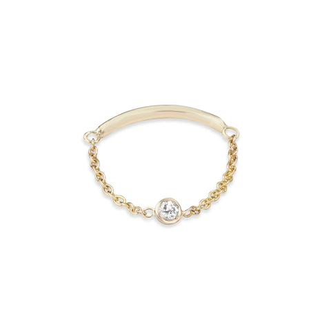 Skylar 14K Gold Diamond Bezel Solitaire Chain Ring
