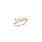 Aiko 14K Gold Pave Diamond Love Ring