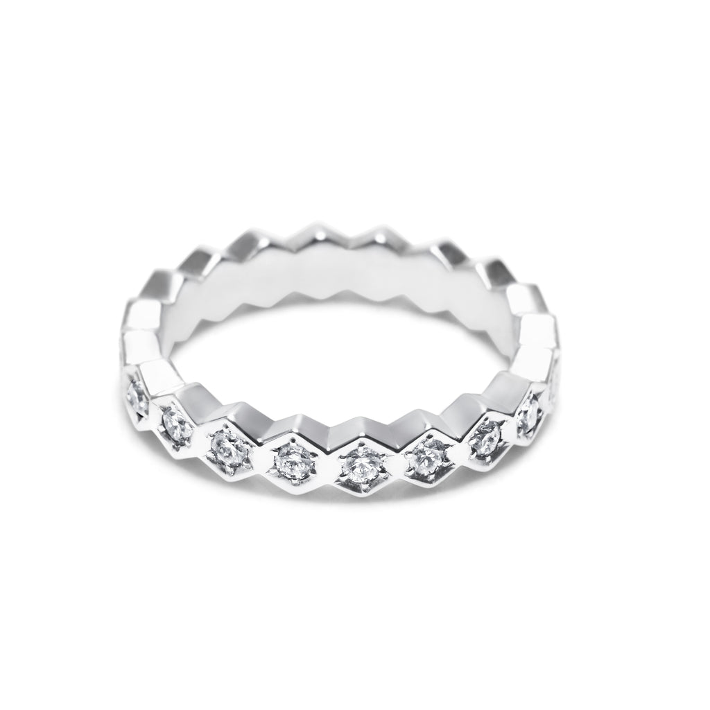 KISMET 18K GOLD & DIAMOND HEX ETERNITY BAND