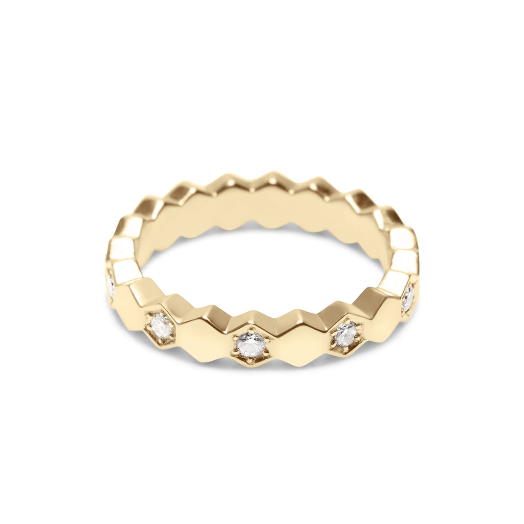 ZORA 18K GOLD & 10 DIAMOND HEX BAND