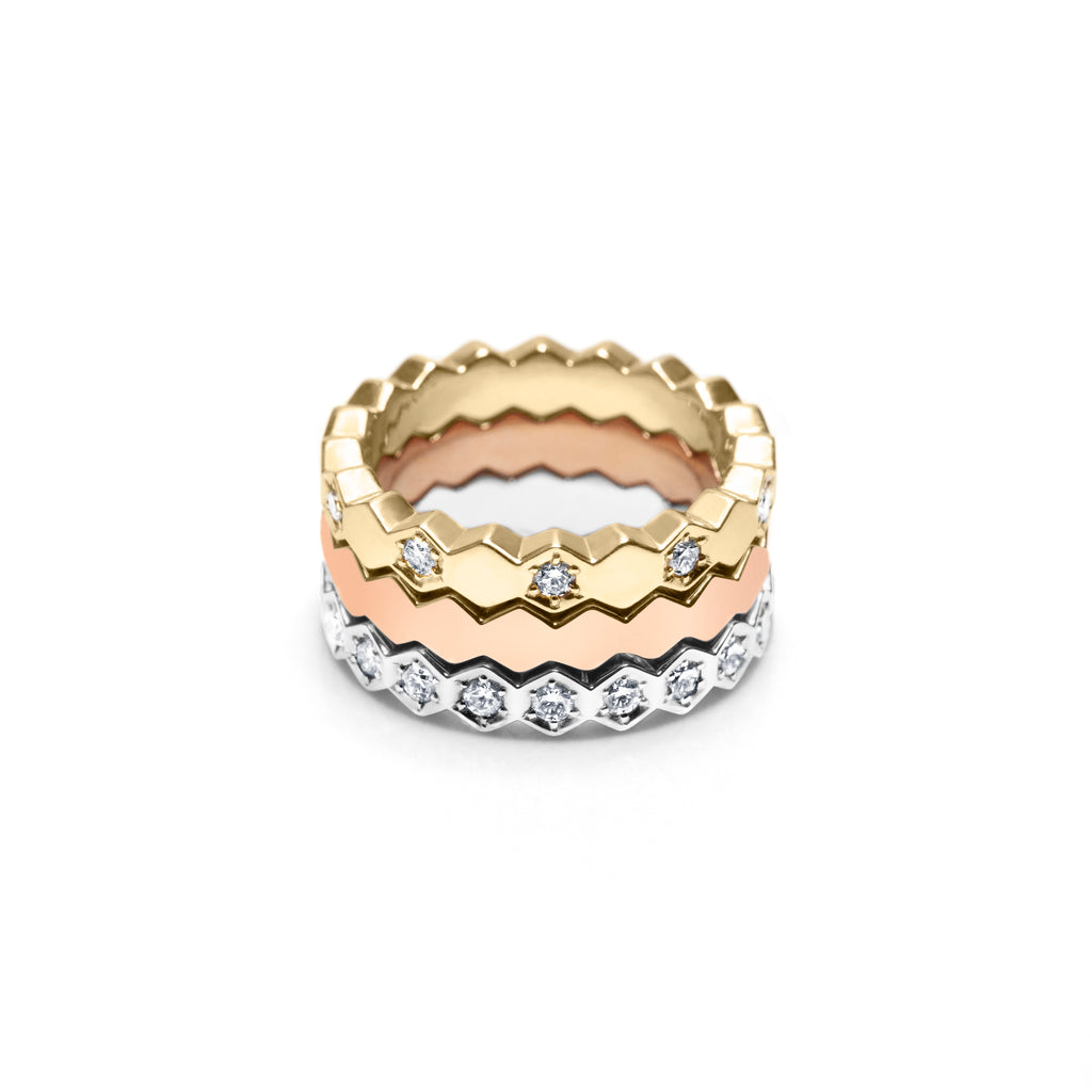 SHE HIVE STACK 18K GOLD & DIAMOND STACKABLE HEX BANDS
