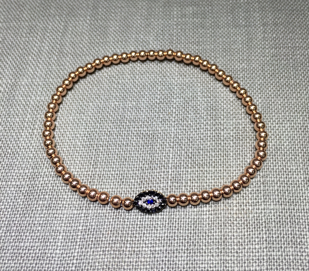 TxT 14k Gold Diamond Evil Eye Bracelet