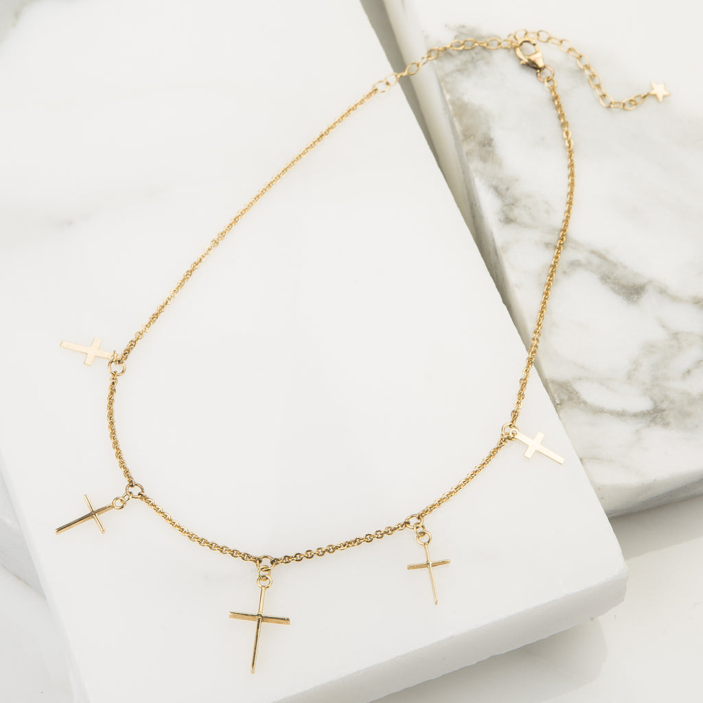 14k Gold Cross Choker Necklace