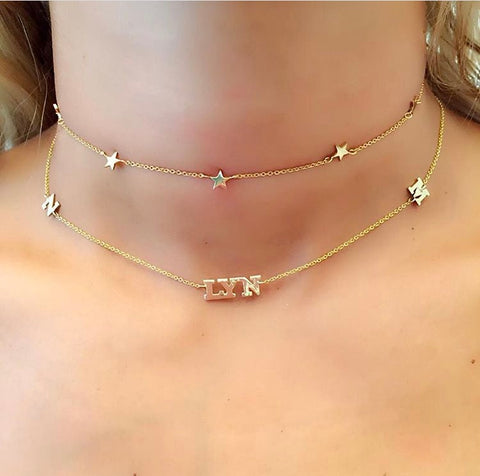 14k Gold Mini Star Choker Necklace