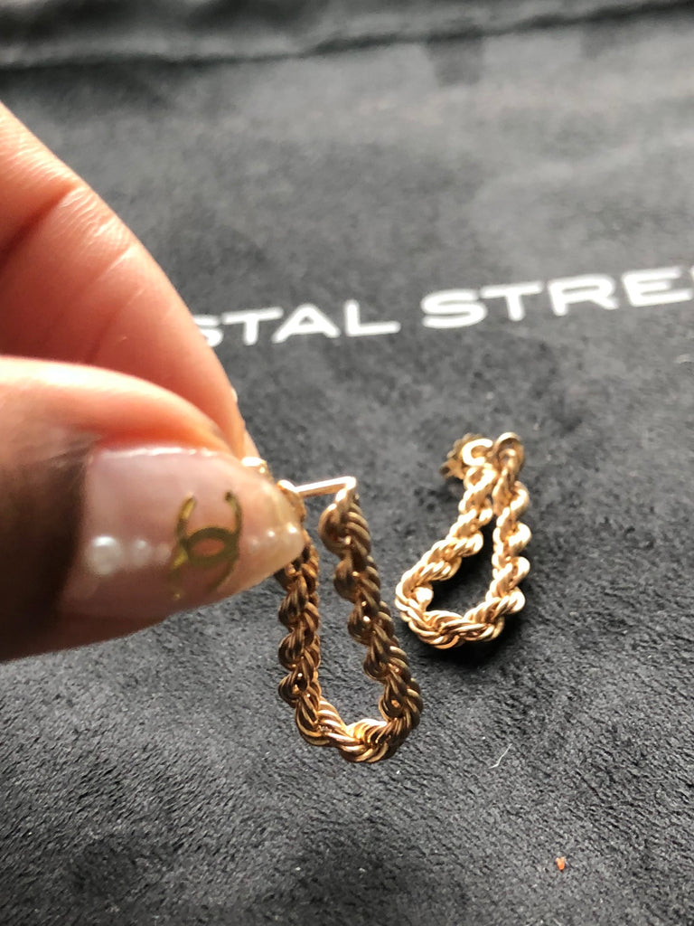 14k Gold Rope Hoops