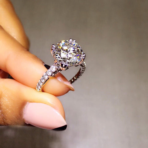 Brilliant Round Cut Custom Carousel Engagement Ring