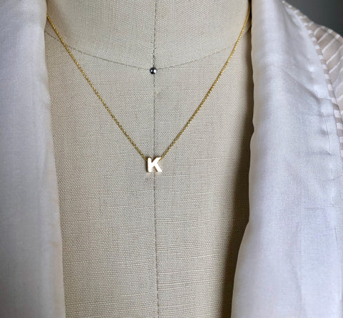 Foster 14k Gold Block Initial Necklace