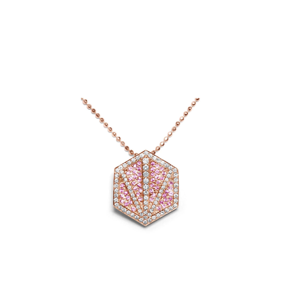 AZALEA 18K GOLD DIAMOND & PINK SAPPHIRE PROTECTION NECKLACE