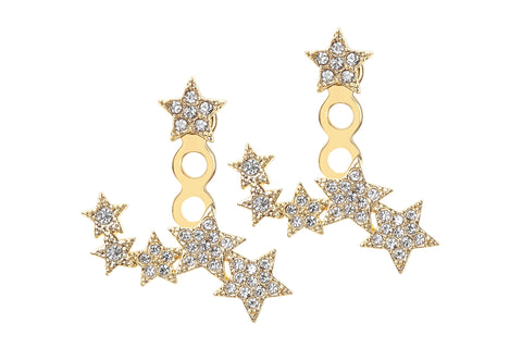 River Pave Floating Star Ear Jacket