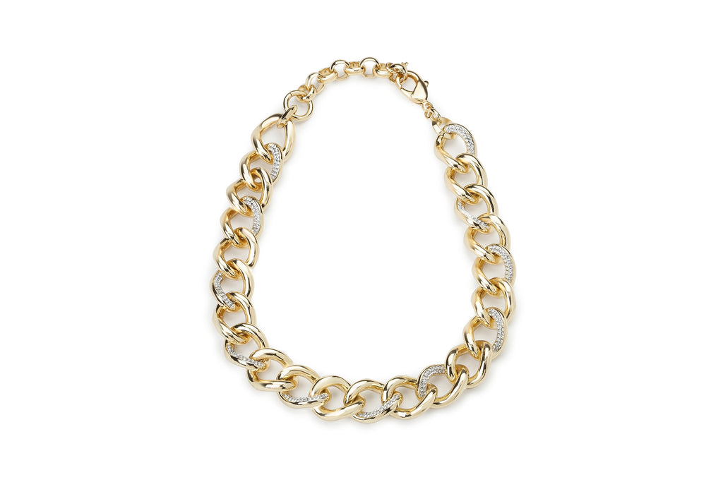 Fara Micro Pave Gold Link Necklace