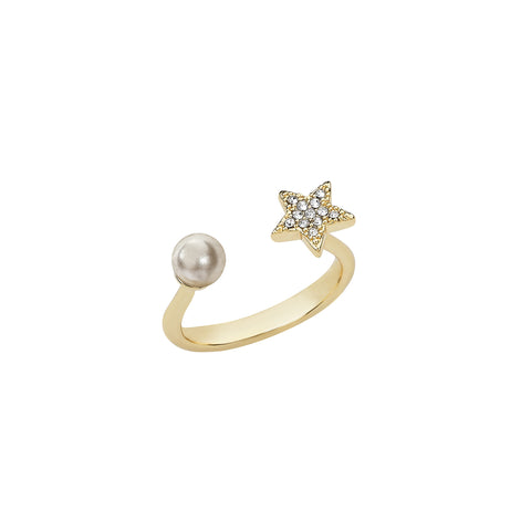 Chloe Pearl & Pave Star Open Ring