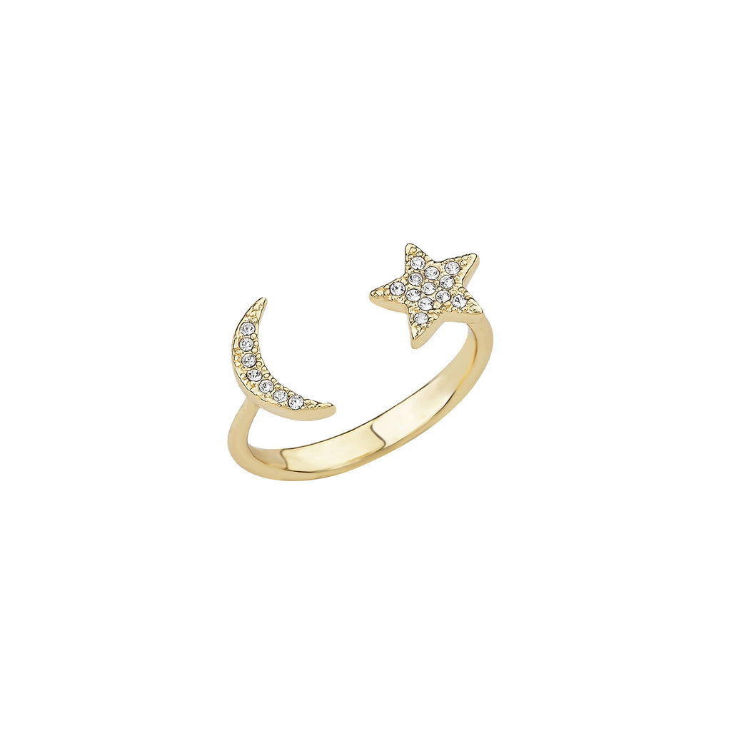 Raven Pave Moon & Star Open Ring
