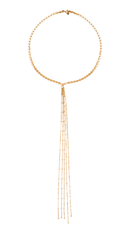 Beaded Disc Fringe Necklace