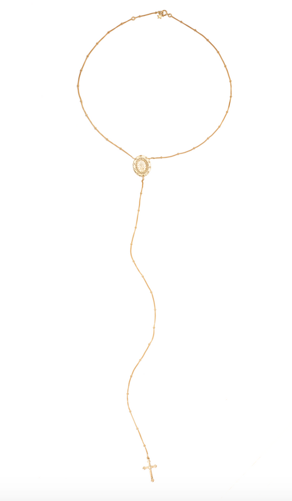 14K GOLD BEADED COIN AND CROSS LARIAT NECKLACE