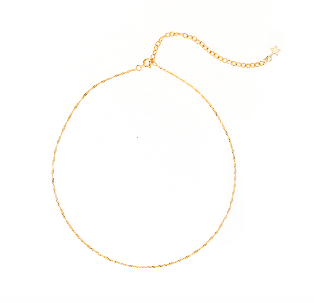 14K GOLD BARELY THERE CHOKER NECKLACE