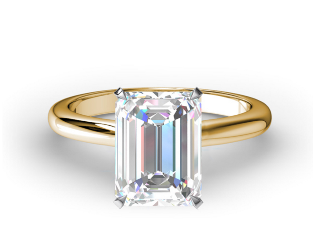 CLASSIC EMERALD CUT FOUR PRONG SOLITAIRE ENGAGEMENT RING