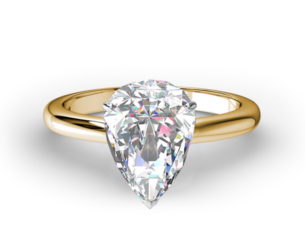CLASSIC PEAR FOUR PRONG SOLITAIRE ENGAGEMENT RING