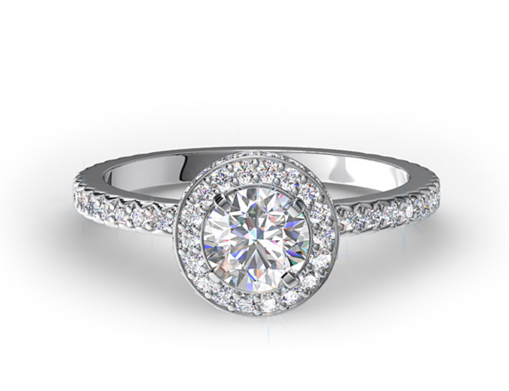 MICRO PAVE DIAMOND HALO ENGAGEMENT RING