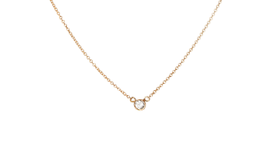 Constance 14K Gold Diamond Bezel Solitaire Necklace