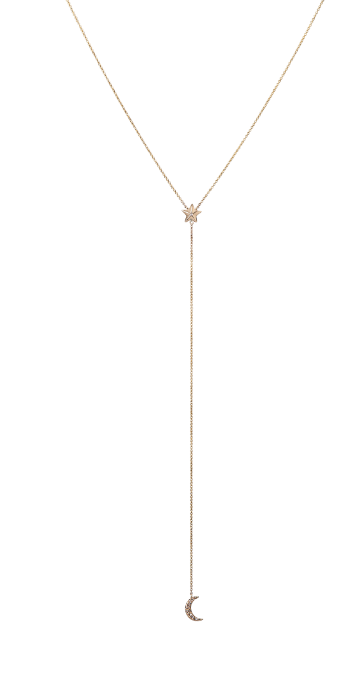 Apollonia Diamond Moon & Star Lariat Necklace