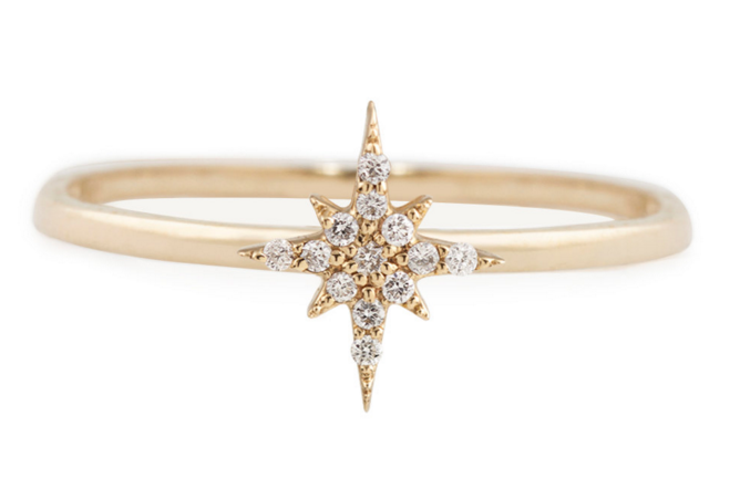 Eva 14K Gold Diamond Mini Starburst Ring