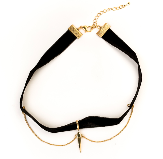 Velvet Pyramid Choker Necklace