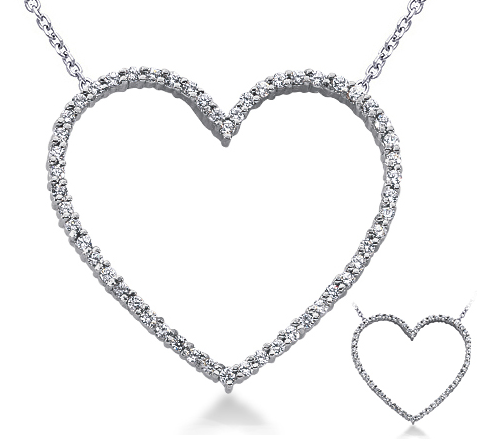 Large 14k Gold Diamond Heart Necklace