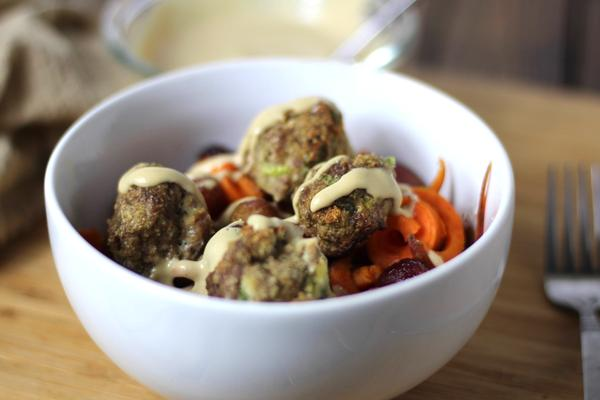 Whole30 Green Onion Meatballs with Tahini Sauce and Roasted Grapes