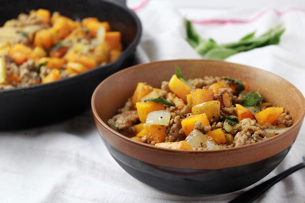 Whole30 Squash Apple Sausage Hash