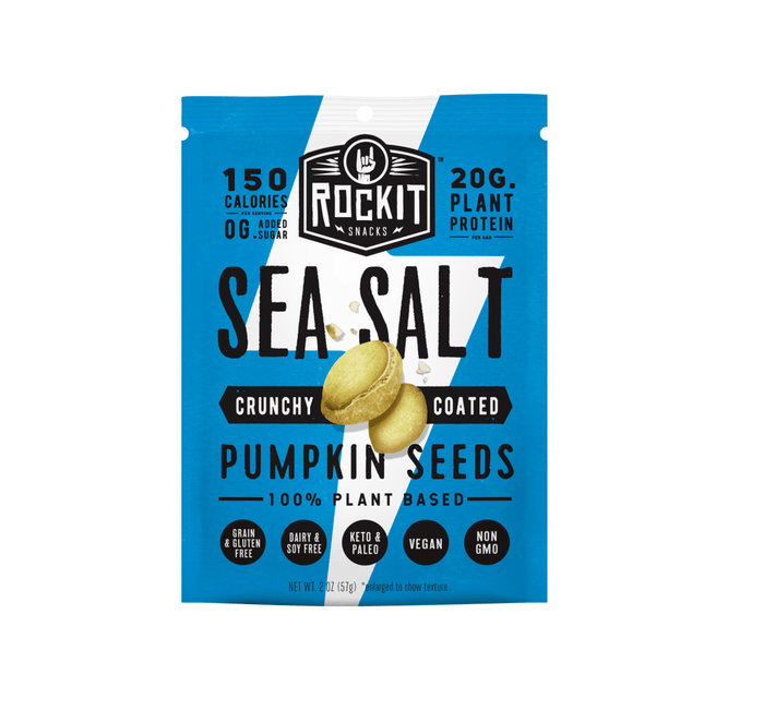 Crunchy Coated Pumpkin Seeds, Sea Salt by RockIt Snacks