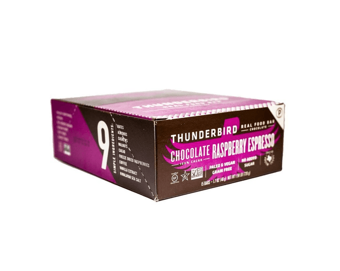 Chocolate Raspberry Expresso Bars (box of 15) by Thunderbird