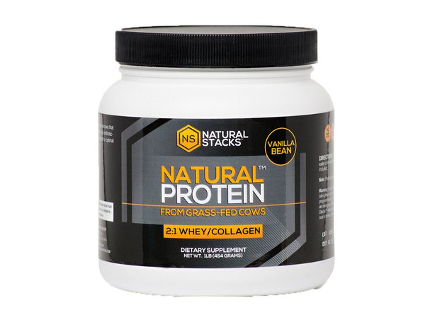 Whey + Collagen Natural Protein, Vanilla Bean by Natural Stacks