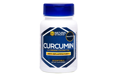 Curcumin Capsules with Organic Coconut Oil Softgels by Natural Stacks