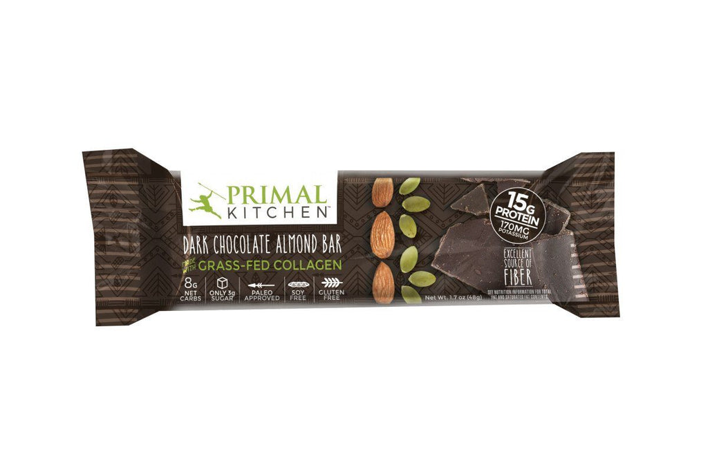 dark chocolate almond bar with grass-fed collagenprimal