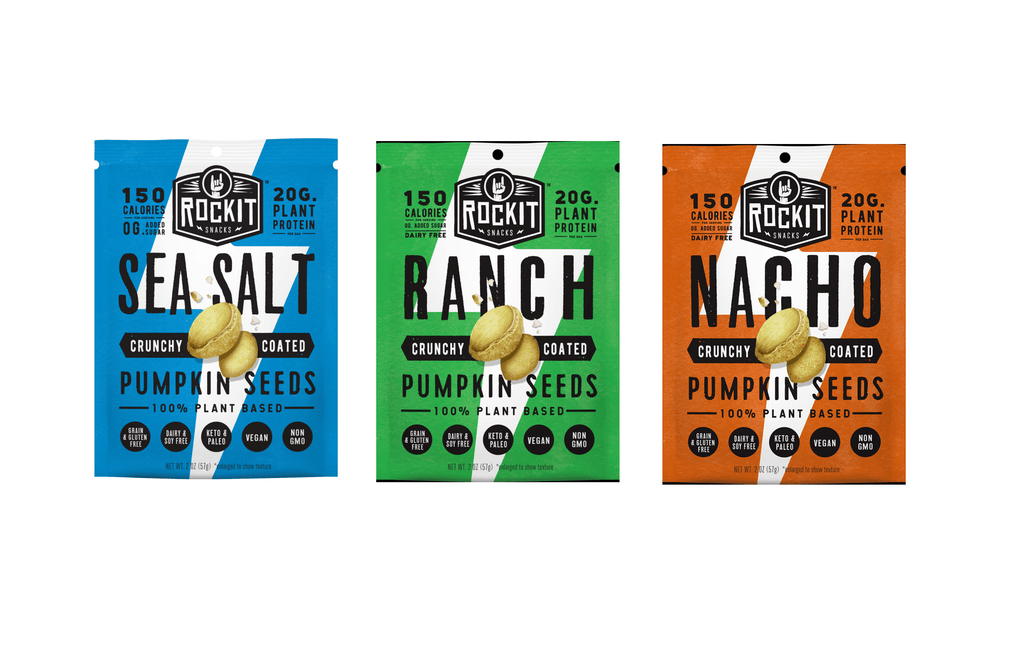 Crunchy Coated Pumpkin Seeds, Ranch by RockIt Snacks