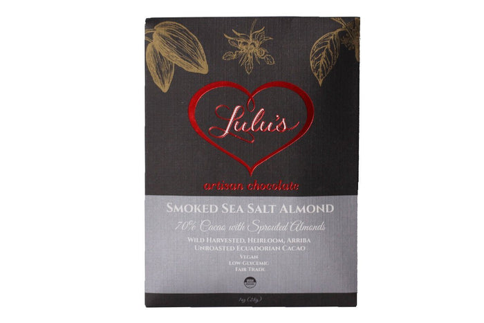 Smoked Sea Salt Almond Handcrafted Raw Organic Chocolate by Lulu's