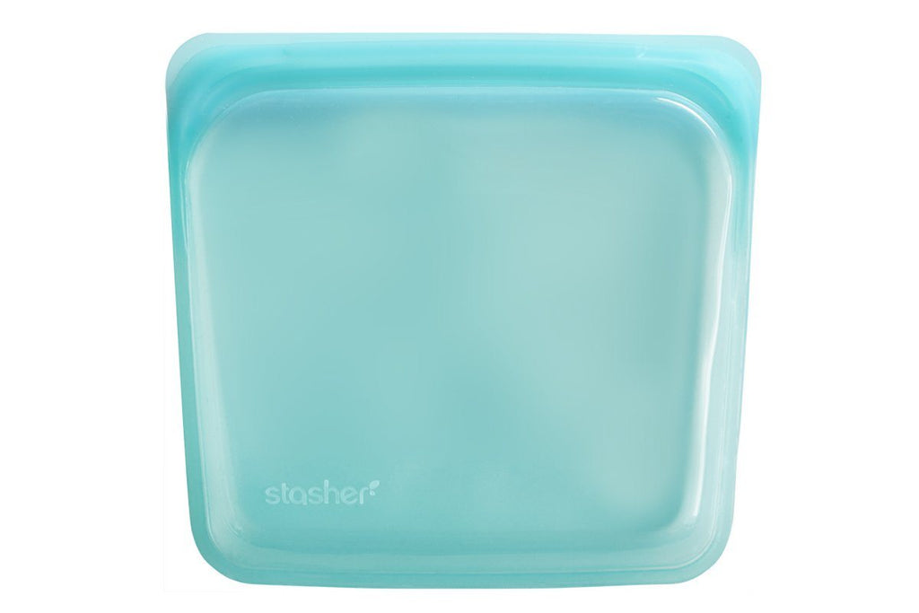 Reusable Silicone Food Storage Bag by Stasher, Large (Sandwich Size), Aqua