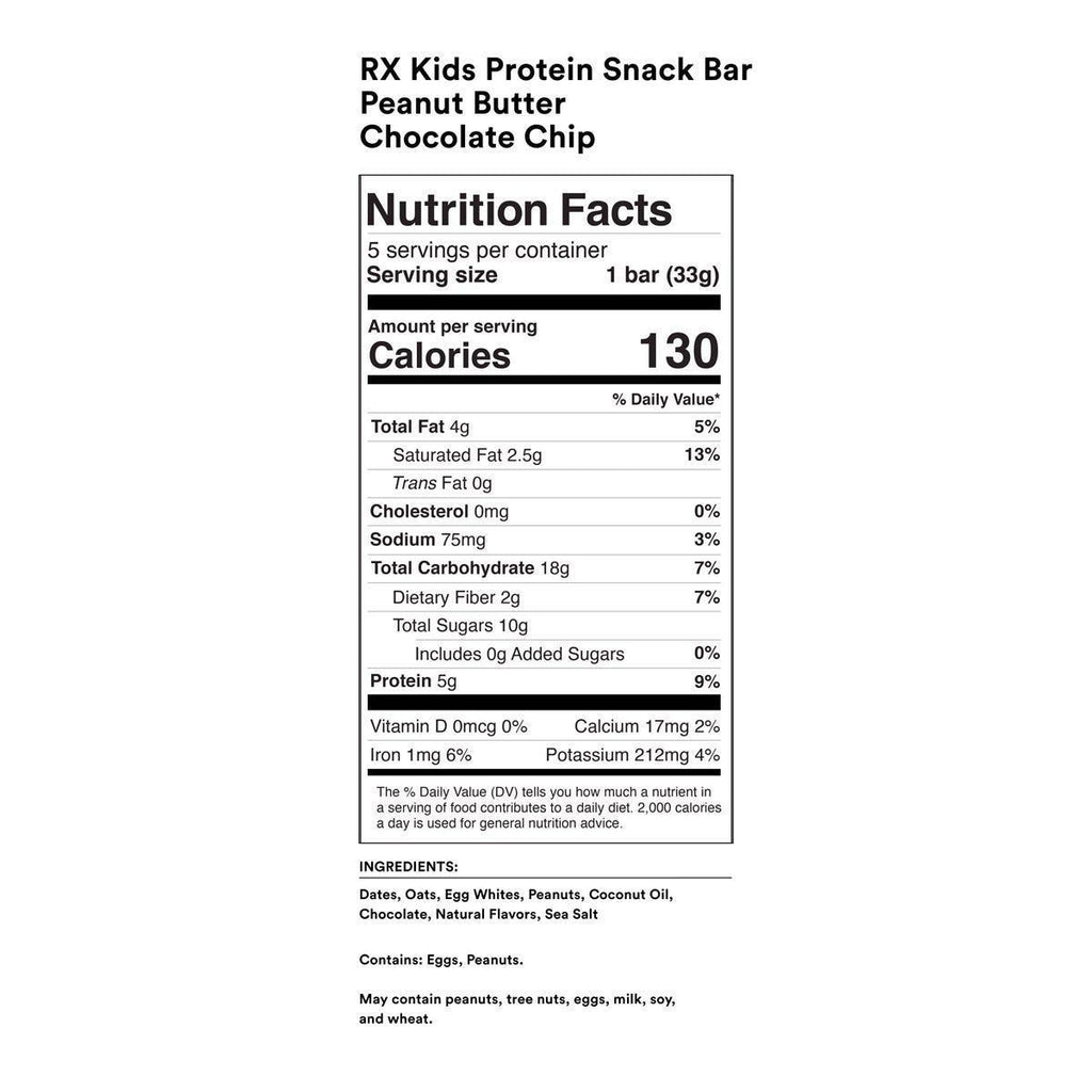 RX Kids Peanut Butter Chocolate Chip (box of 5 bars) by RXBAR
