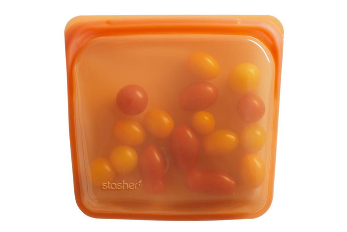 Reusable Silicone Food Storage Bag by Stasher, Large (Sandwich Size), Citrus