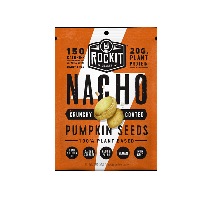 Crunchy Coated Pumpkin Seeds, Nacho by RockIt Snacks