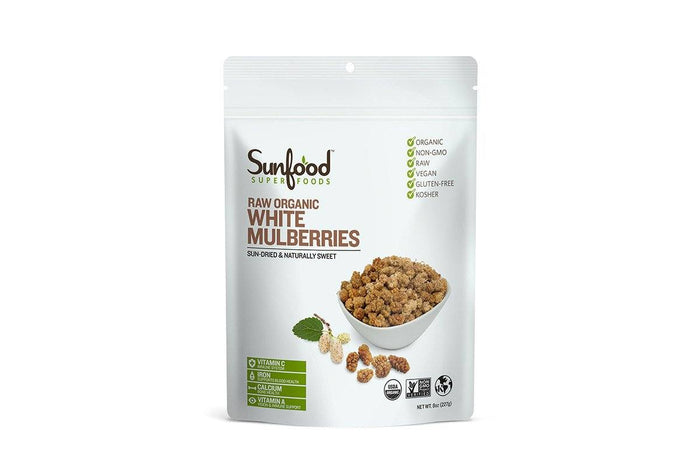 Organic White Mulberries by Sunfood - 8 oz