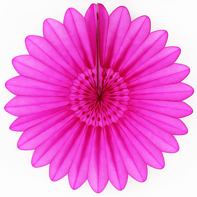 Hot Pink Tissue Paper Fan 45cm
