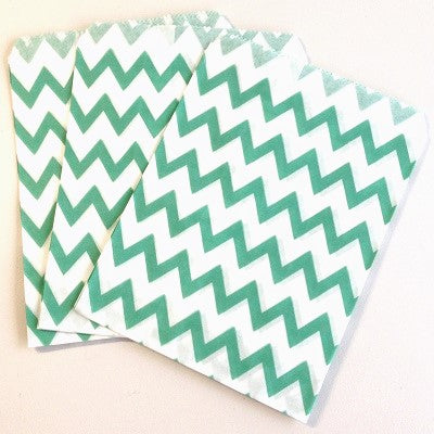 Aqua Green Chevron Party Bags (10 pack)