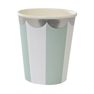 Toot Sweet Mint Striped Cups (8 pack)