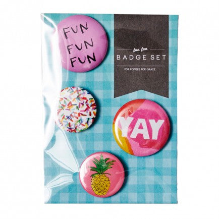 Fun Fun Badge Set (4 pack)