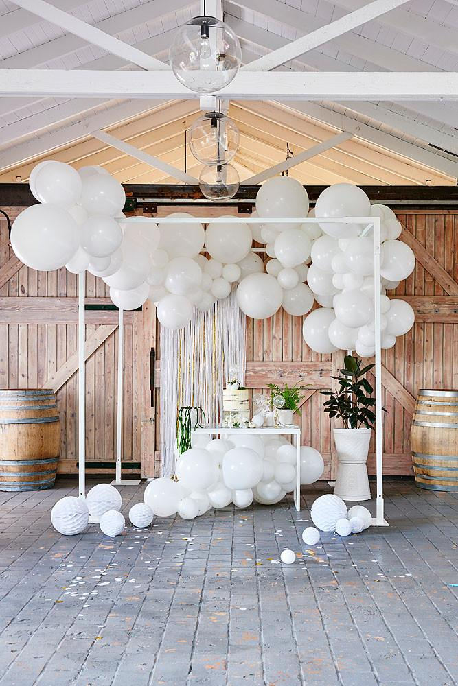 White Balloon Garland Ruby Rabbit
