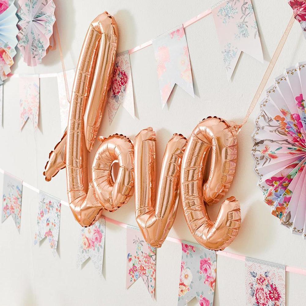 Rose Gold 'LOVE' Script Balloon