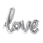 Silver 'LOVE' Script Balloon