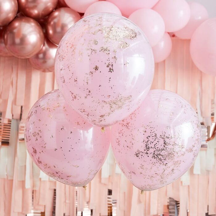 Pink & Rose Gold Glitter Balloons (3 pack)
