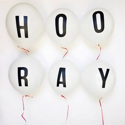 White 'HOORAY' Balloon Set
